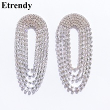 Luxury Stone Drop Dangle Earrings For Women 2019 New Multi Layers Big Silver Color Statement Party Wedding Jewelry