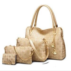 Image 1 - Women Top Handle Bags Female Composite Bags Women Messenger Bags Handbag Set PU Leather Wallets Key Bag Set
