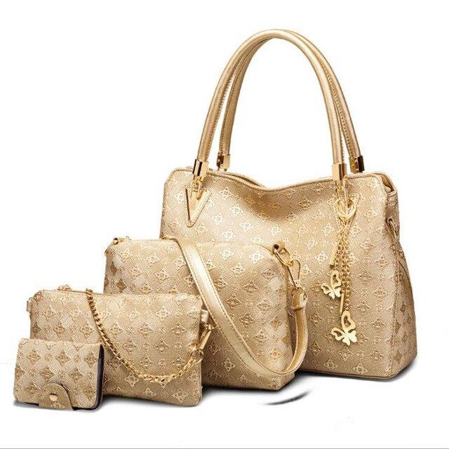 Women Top Handle Bags Female Composite Bags Women Messenger Bags Handbag Set PU Leather Wallets Key Bag Set