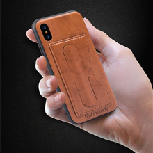 Luxury PU Leather Case For iPhone X 8 7 High-end Sotf TPU Car Holder Anti-drop Protective Back Cover For iPhone 8 Plus 7Plus
