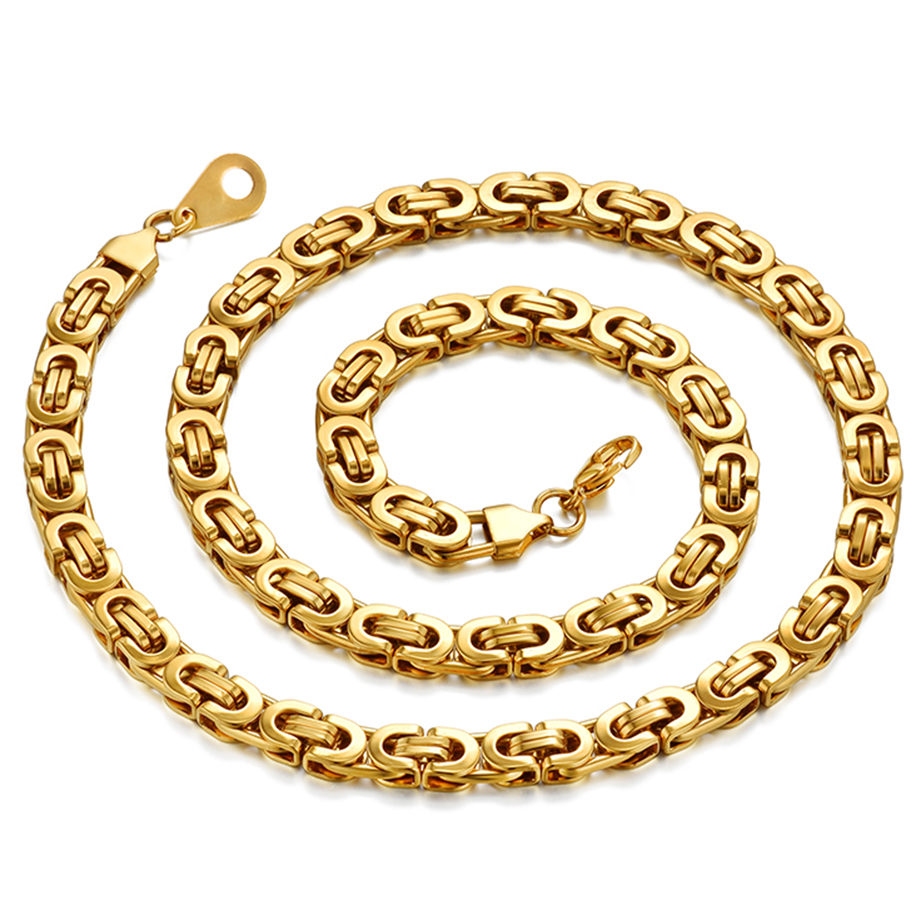Men 39 s Gold Chain Necklace 20 quot 23 quot 26 quot Male Corrente Gold Color Stainless Steel Necklace Byzantine Chains For Men Jewelry T1304 in Chain Necklaces from Jewelry amp Accessories