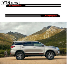 car sticker 2PC cool racing stripe side door graphic vinyl  protect accessories decal custom for toyota FORTUNER