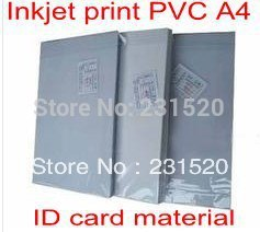 ID card making supplies material Blank Inkjet print <font><b>PVC</b></font> <font><b>sheets</b></font> A4 100sets white color 0.76mm thick: 0.15mm+0.46mm+0.15mm image