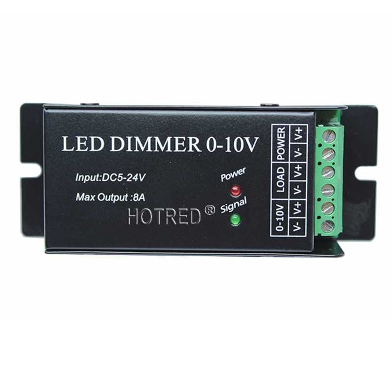 Airmail shipping, input 0-10V dimmer singal,1 channel 8A,12<96W,24V<192W,black color shell led dimmer for flexible led strip
