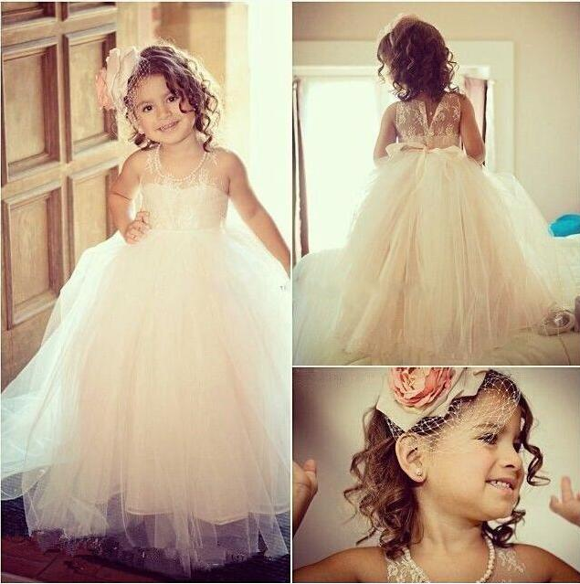 New Arrival Cute Flower Girls' Dresses for Wedding Birthday Halter Lace Puffy Skirt Kids Infant First Ball Gowns Girl's Pageant