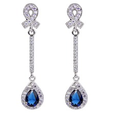 BELLA Silver Plated Teardrop Bridal Earrings Multi-color Cubic Zircon Dangle Earrings Jewelry  For Wedding Women Bridesmaid