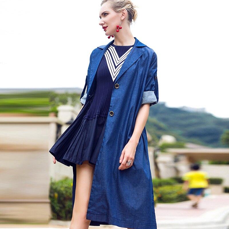 Kakagogo 2017 Streetwear Long Denim Trench font b Coats b font Jeans Loose Bust Wide waist