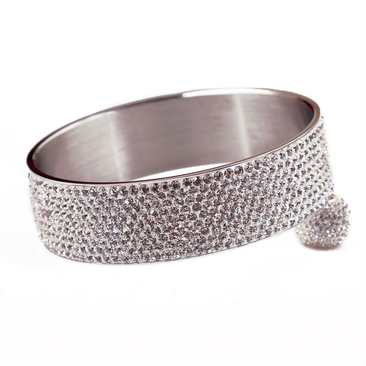 2014 new fashion Stainless steel bracelets & bangles women luxurious paragraph Clear Rhinestone Crystal Jewelry 9 rows - CRYSTAL BEADS store
