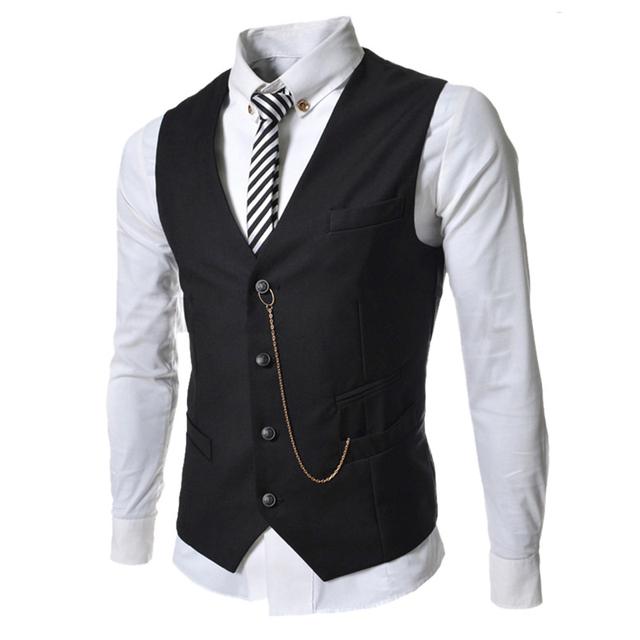 (5 Colores) moda Elegante Traje de Los Hombres Chaleco Ocasional Otoño Hombres de la Marca Negro Blanco de Un Solo Pecho Slim Fit Chaleco Hombres Ropa de Baile