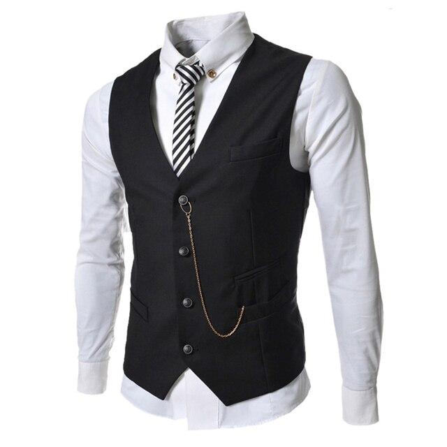 (5 Colors) Fashion Elegant Men Suit Vest Autumn Casual Brand Men Black White Single Breasted Slim Fit Prom Waistcoat Men Clothes