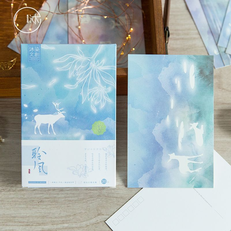 30 Sheets/Set Dreamy Deer Luminous  Postcard/Greeting Card/Wish Card/Christmas Gift Card
