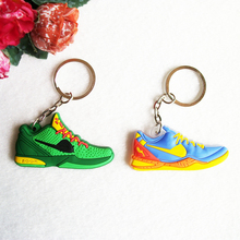 Mini Silicone Sneaker Green Snake Black Mamba Bryant KD 6 Keychain Key Chain Shoes Car Key Holder Woman Men Bag Charm Key Rings(China)