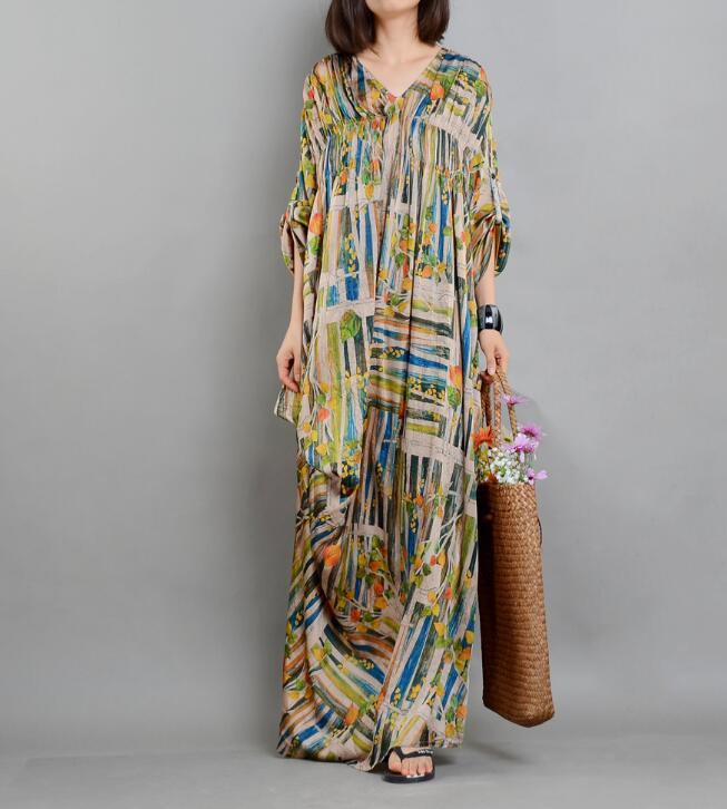 Imprimer Fleur Longue En Soie Femmes Robes Coton Plus La Taille d'été Robes De Soie