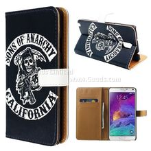 For Samsung Note4 Skull Leather Flip Cover for Samsung Galaxy Note 4 N910 FREE SHIPPING