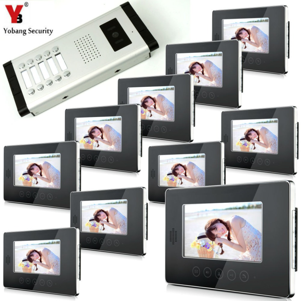 YobangSecurity 7 LCD Wired Video Door Phone Doorbell Intercom Monitor Visual Security Camera Bell System For 10Unit Apartment wired video door phone intercom doorbell system 7 tft lcd monitor screen with ir coms outdoor camera video door bell