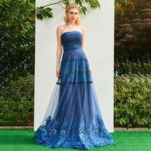 Tanpell navy blue long prom dresses elegant women a line beading strapless sweep train evening party customed formal dress