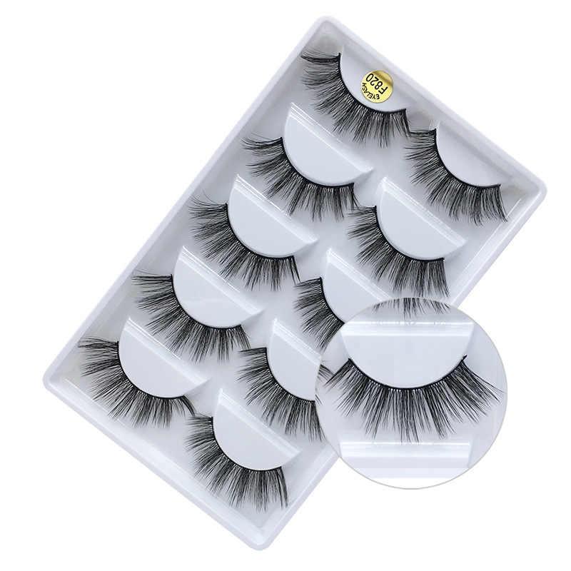 3D מינק ריסים טבעי שווא ריסים 5 זוגות/1 חבילה בעבודת יד מזויף עין ריסים הארכת עבור יופי איפור F810