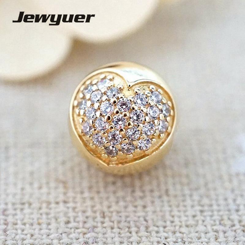 Amour de ma Vie Charme 14 k solide or clip coeur perle Fit 925 sterling argent bracelets DIY pour les femmes memnon gros GD060