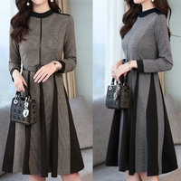 2019 Autumn Winter Women's Dress Spring Elegant Retro Over the Knee O Neck Long Sleeve A Line Dress Office Lady