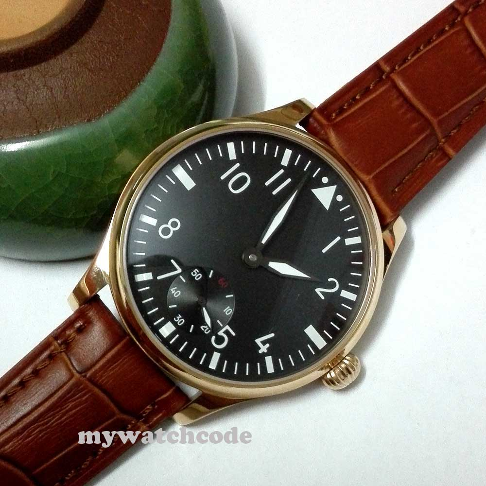 цена на 44mm parnis black dial 6498 movement hand winding brown leather mens watch P252