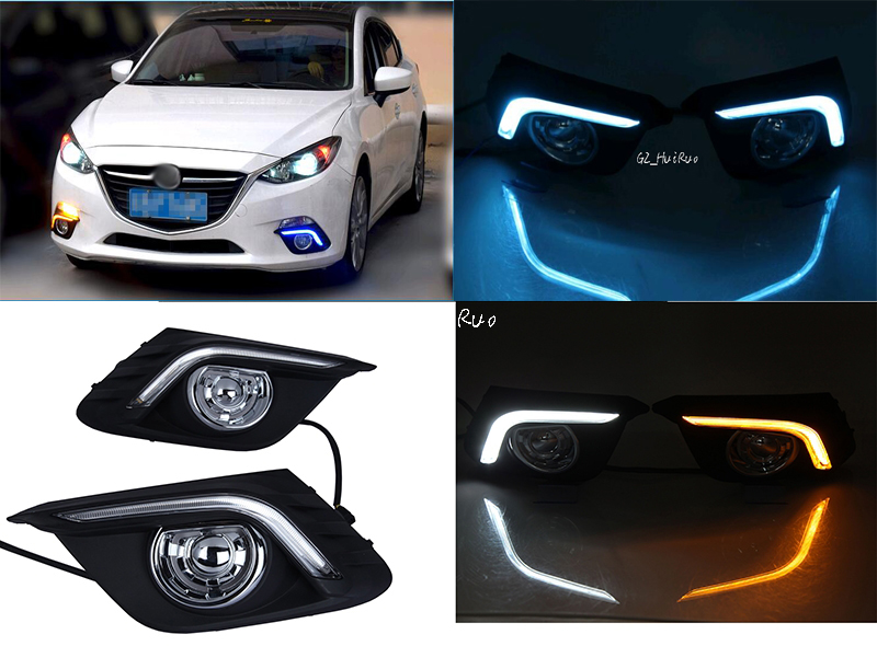 White/Ice Blue+yellowTurn Signal Light and Dimming style relay 12V LED car DRL daytime running lights with for Mazda 3 axela specific for toyota hilux revo vigo 2015 2016 with amber signal style relay 12v car drl led daytime running light
