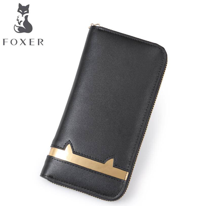ФОТО FOXER high-quality fashion luxury 2017 new women's wallet three discount folder leather bag leather, women's well-known brands