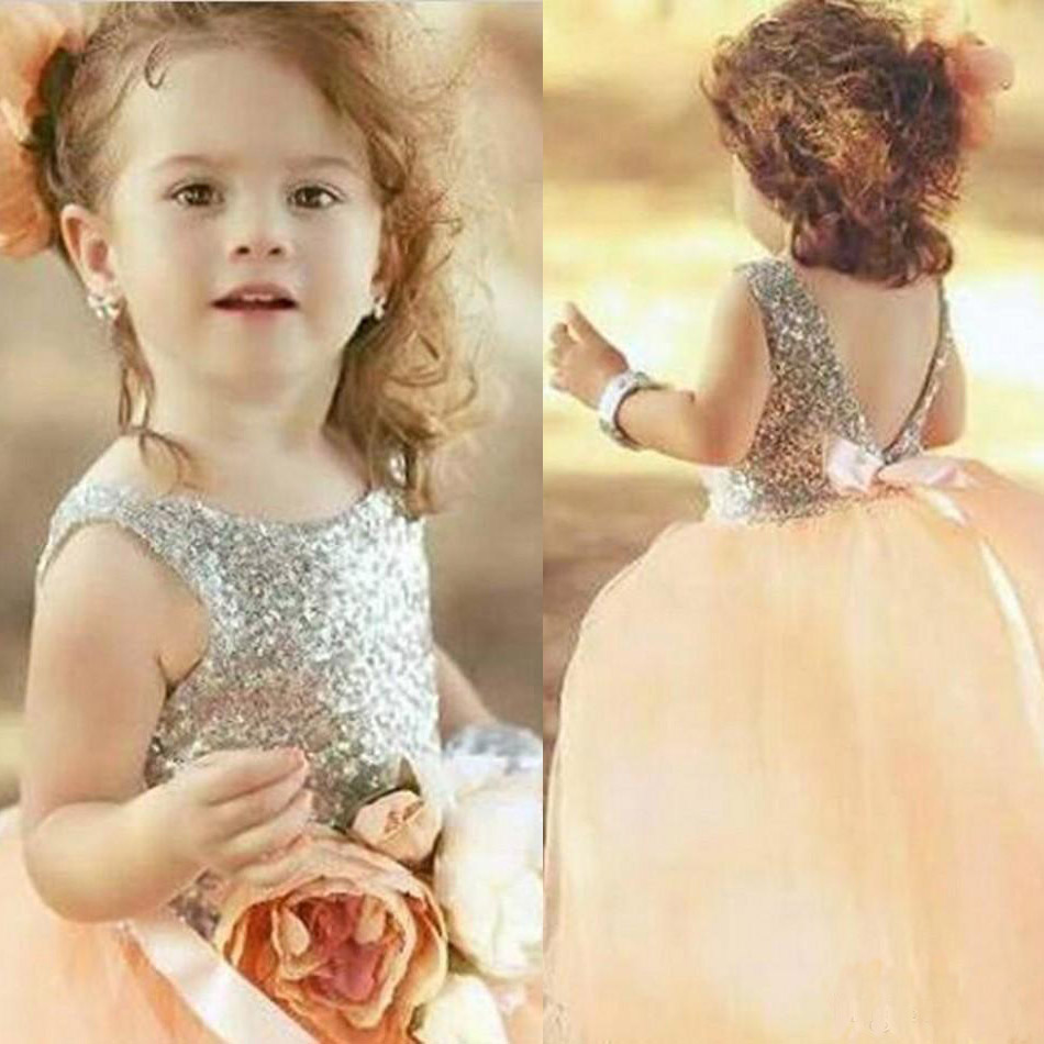 Pink Flower Girl Dresses for Wedding Tulle Silver Sequin Holy First Communion Dresses Ball Gown Pageant Dresses for Girls Glitz hot sale custom cheap pageant dress for little girls lace beaded corset glitz tulle flower girl dresses first communion gown
