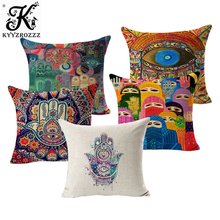 Hamsa Hand Cushion Covers 16 Styles Ramadan of Fatima Oil Painting African Woman Thin Linen Cotton Pillow Cover