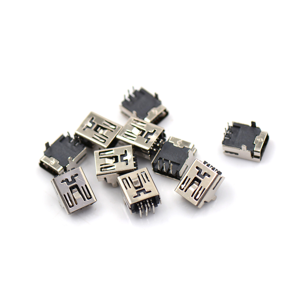 10Pcs Mini DIY USB Female 5 Pin Type B Right Angle PCB Socket Connector 2 Legs