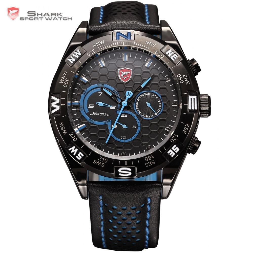 Luxury Gift Package Shark Sport Watch 6 Hands Blue Dial Clock Calendar Leather Strap Quartz Racing Men Brand Clock / SH153+ZC156  sh brandmens dial sh035