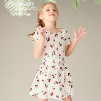 Girl White dress sleeve child shredded flower sweet print dress