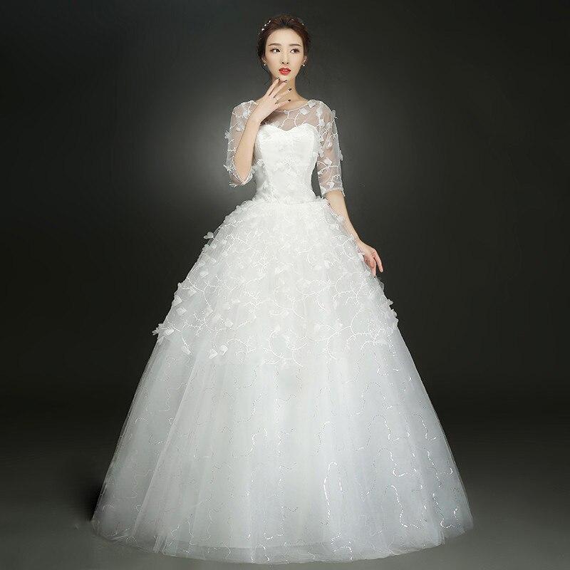 White Wedding Gown Styles: New Korean Style White Ball Gown Dress Wedding Dress Half