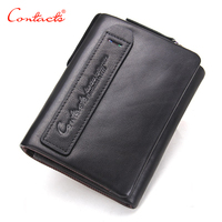 CONTACT S 2017 Genuine Leather Mens Wallet Small Brand Design Fashion Money Bag Coin Purse Cow