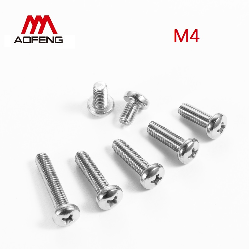 <font><b>M4</b></font> 304 Stainless Steel Cross Recessed Round Head Screws M4x10 12 14 16 18 20 25 <font><b>30</b></font> 40 45 50 55 60 65 70 75 80mm Pan Head Screws image