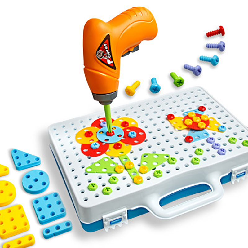 Tool Toys 146pcs Kids Drill Toys Creative Educational Pretend Toy Electric Drill Screws Puzzle Assembled Mosaic Design Building Toys Boy