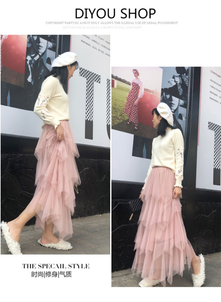 Women irregular Tulle Skirts Fashion Elastic High Waist Mesh Tutu Skirt Pleated Long Skirts Midi Skirt Saias Faldas Jupe Femmle 21