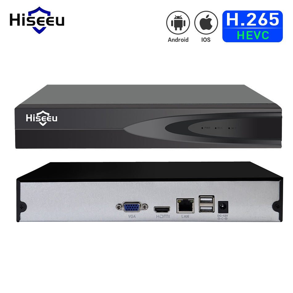 Hiseeu H.265 HEVC 8CH 16CH CCTV NVR para 5MP/4MP/3MP/2MP ONVIF 2,0 cámara IP de metal grabador de vídeo en red P2P para sistema de cctv