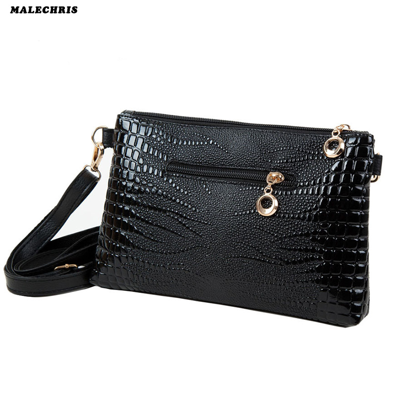 2017 New Womens Shoulder Bag Ladies Fashion Leather Envelopes Crossbody  Bags Crocodile Pattern Mini  Lady Mobile Phone Bag