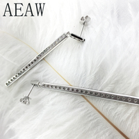 AEAW 48mm 2mm Round Lab Grown Moissanites Diamond Drop Earrings for Women Wedding Engagement Birthday in Sterling Silver