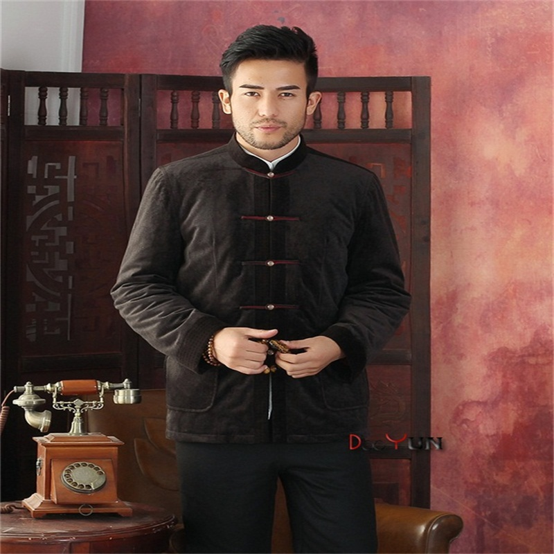 Autumn Men's Long sleeve Chinese style Jacket Kung Fu Coat Velour Embroidery Tang Suit Size S M L XL XXL XXXL Free Shipping