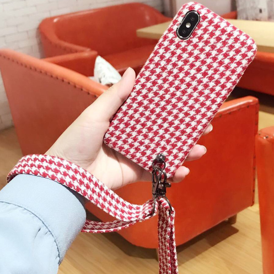 fashion Plaid check Flannelette fuzz with two straps cover for apple iPhone 6 6s plus 6P 7 8 X soft mobile phone Case capa ...