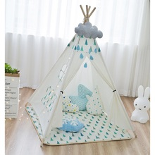 Children tipis canvas cotton indian tent wooden poles play house teepees kids tipi playhouse baby room castle sleeping bed tipi tent kinderkamer