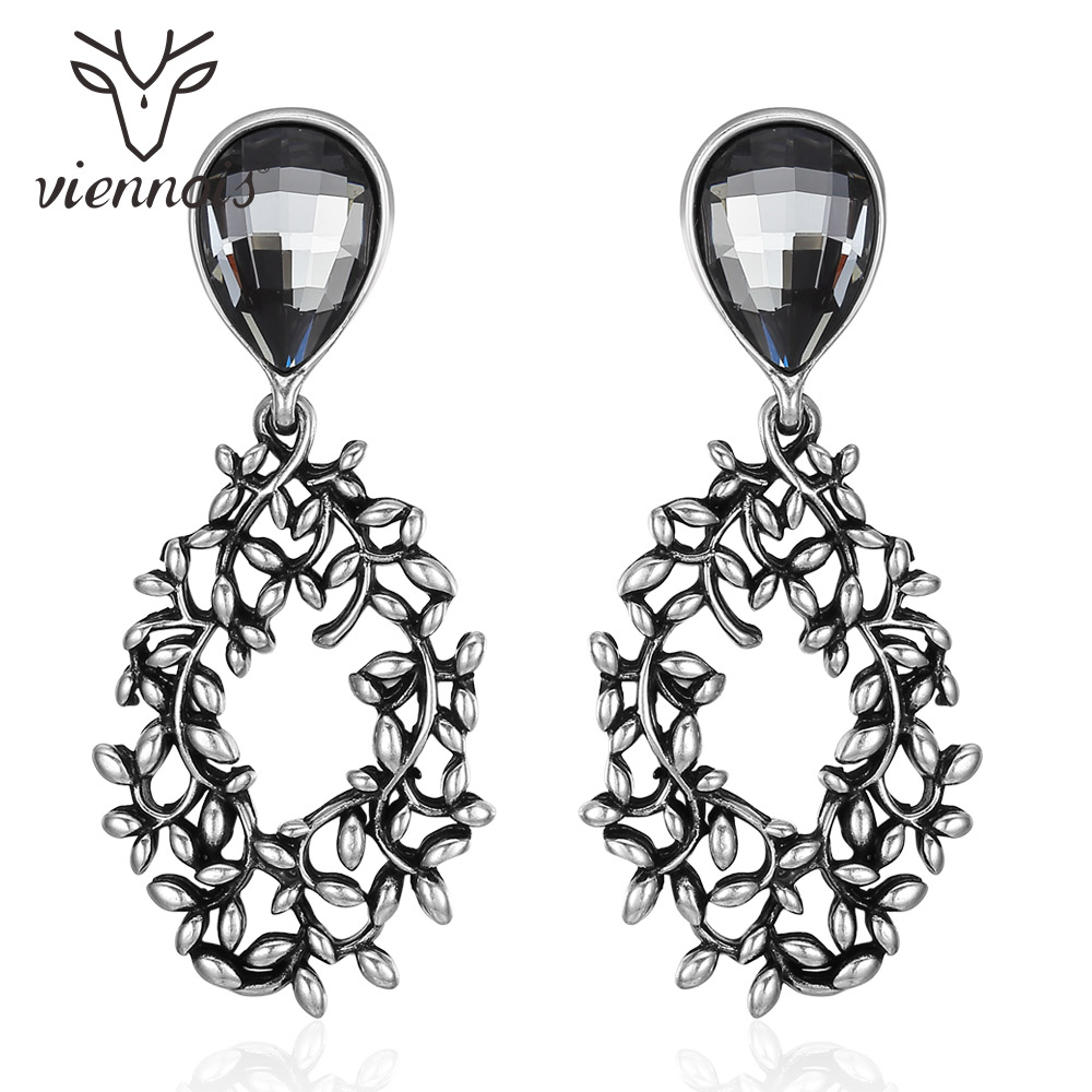 Viennois Vintage Silver Color Leaves Branch Drop Earrings for Women Water Drop Crystal Gold Color Dangle Earrings Female Jewelry