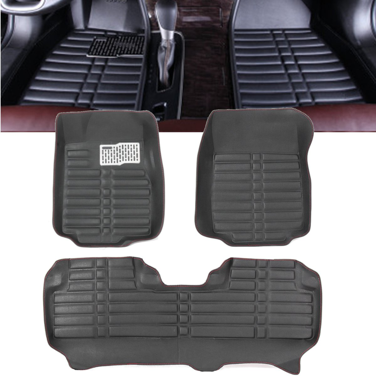 3Pcs Black Car Floor Cover PU Leather Front Rear Liner Waterproof Mat for Honda for CRV 2012-2016 128x64cm/64x79cm/64x78cm3Pcs Black Car Floor Cover PU Leather Front Rear Liner Waterproof Mat for Honda for CRV 2012-2016 128x64cm/64x79cm/64x78cm