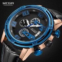 Megir cuero correa de ocio deportes cuarzo relojes hombres cronógrafo reloj para hombre Relogios Masculino ejército militar 2078 azul