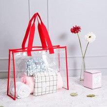 Waterproof Clear Transparent Shoulder Bags Women PVC Foldable Beach Bag Large Capacity Summer Girls Handbags