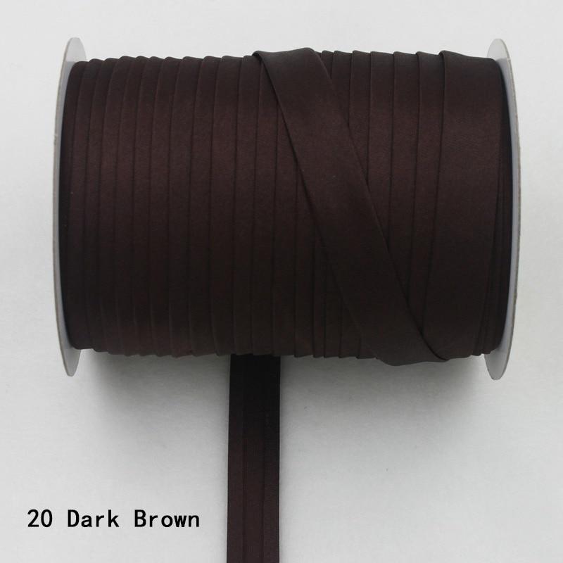 """100 ярд полиэстер 5/""""(15 мм) атласная косая лента косая Привязка сплошной цвет для пошив одежды «сделай сам» и обрезки - Цвет: 21    dark brown"""