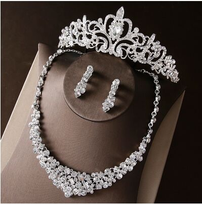 2017 New Silver Crystal Necklace Earrings for Women Wedding Jewelry Sets Whit K Plated Bridal Jewelry Sets With Tiaras & Crowns (8)
