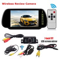 7inch LCD Mirror Monitor+IR Wireless Rearview Camera Reversing Kits Car Truck