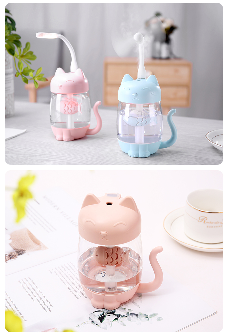 350ML Air Humidifier Cat and Fish USB Air LED 3 In 1